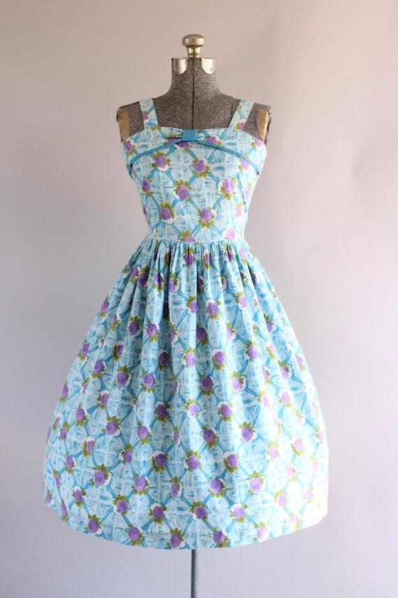 Vintage 1950s Dress / 50s Cotton Dress / Turquois… - image 3