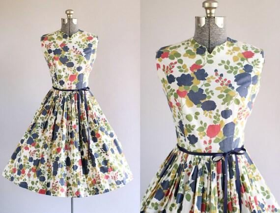 Jahrgang 1950 Kleid / 50er Jahre Baumwolle Kleid / Stacy Ames