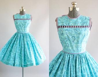 Vintage 1950s Dress / 50s Cotton Dress /Turquoise Floral Dress w/ Lavender Cut Out Yoke XS