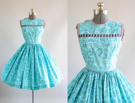 Jahrgang 1950 Kleid / 50er Jahre Baumwolle Kleid/Türkis