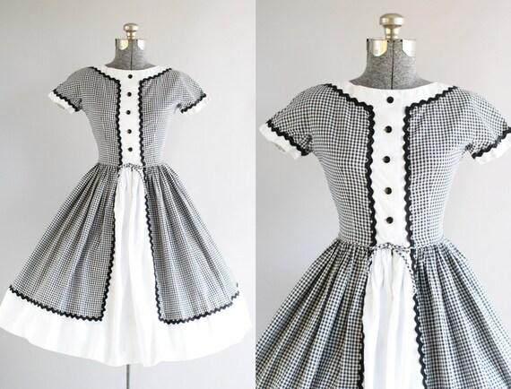 Jahrgang 1950 Kleid / 50er Jahre Baumwolle Kleid / schwarz und