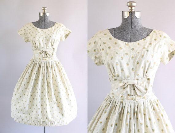 Jahrgang 1950 Kleid / 50er Jahre Baumwolle Kleid / Beige und