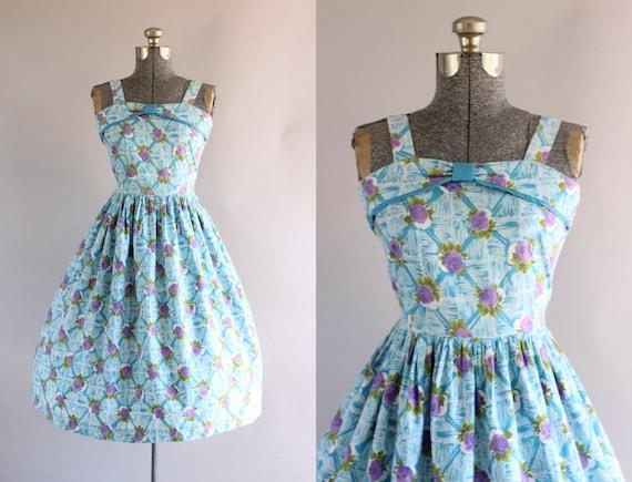 Vintage 1950s Dress / 50s Cotton Dress / Turquois… - image 1