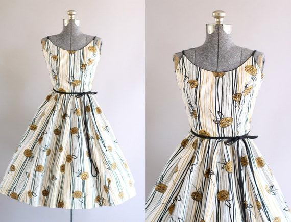 Jahrgang 1950 Kleid / 50er Jahre Baumwolle Kleid / Jerry