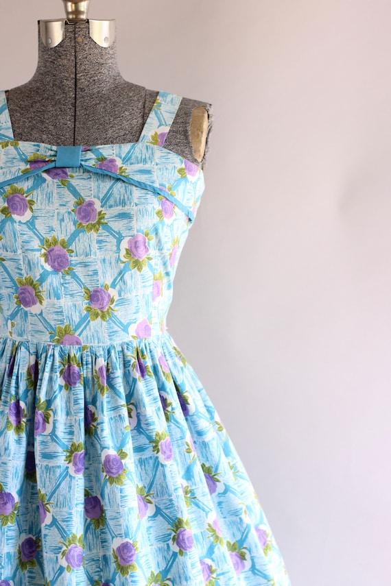 Vintage 1950s Dress / 50s Cotton Dress / Turquois… - image 7