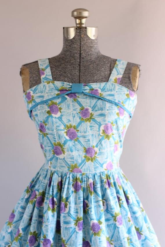 Vintage 1950s Dress / 50s Cotton Dress / Turquois… - image 2