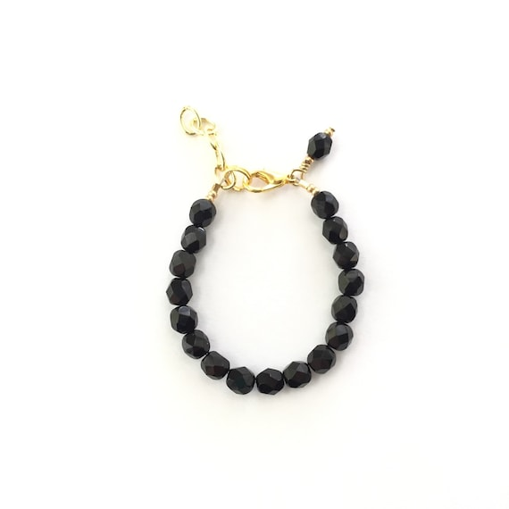 Black Faceted Baby Bracelet, girl baby bracelet, newborn bracelet, mommy and me, toddler bracelet, mothers day, bridesmaid jewelry shower