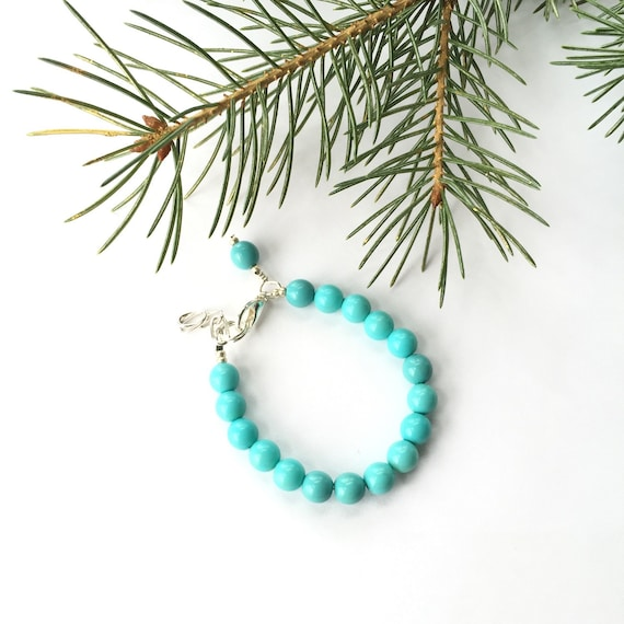 Turquoise Glass Pearl Baby Bracelet, girl baby bracelet, newborn bracelet, mommy and me, toddler bracelet, mothers day, bridesmaid jewelry