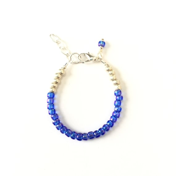September Birthstone Sapphire colored Baby Bracelet, Newborn Baby Shower Gift, Toddler Girl Jewelry, Gold or Silver Unique Gift