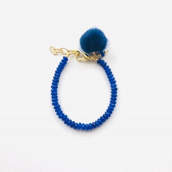 Baby Bracelet, Tassel Baby Bracelet, Baby Gifts, Little Girl Bracelet, Personalized Girl Gift, New Baby Gift, Cobalt Blue bracelet, Pom Pom
