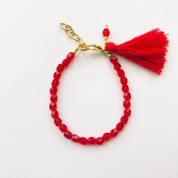 Baby Bracelet, Tassel Baby Bracelet, Baby Gifts, Little Girl Bracelet, Personalized Girl Gift, New Baby Gift, Valentines Gift