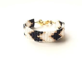 black & white chevron gold Bracelet  Baby Bracelet w/14k gold findings , girl baby bracelet, newborn bracelet, mommy and me, baby shower