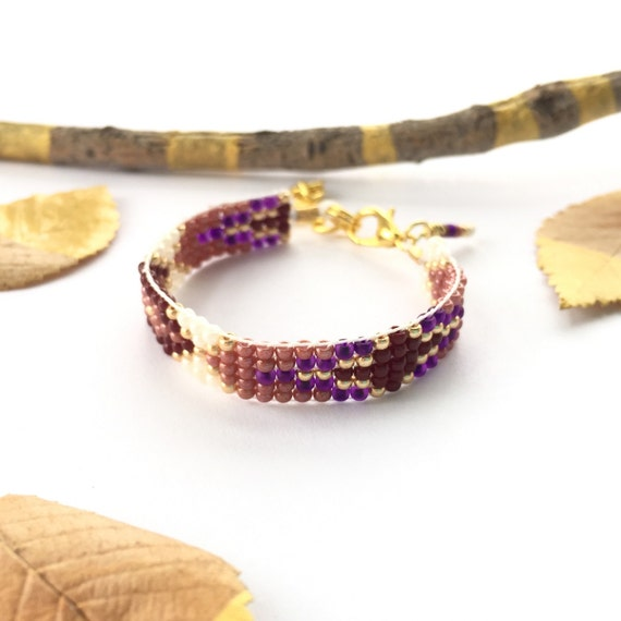 Unique Baby gift Newborn photo prop, beaded friendship bracelet, baby jewelry, personalized unique Purple & Burgundy 14k gold woven bracelet