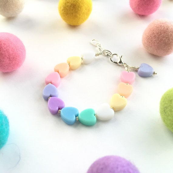 Baby Bracelet, Personalized Baby Bracelet, Baby Gifts, Little Girl Bracelet, Personalized Girl Gift, New Baby Gift, Pastel Heart Bracelet