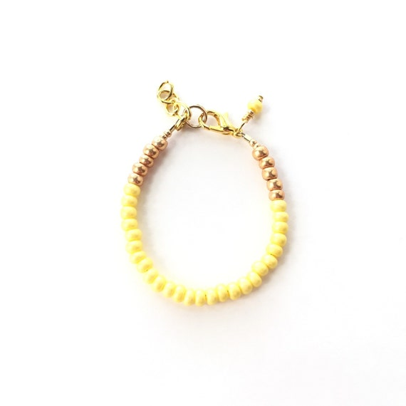 Baby Bracelet, Personalized Baby Bracelet, Baby Gifts, Little Girl Bracelet, Personalized Girl Gift, New Baby Gift, Canary Yellow