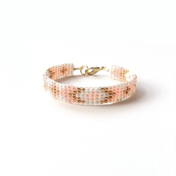 Woven Bead Bracelet - Aztec Bracelet - Tribal Bracelet - Geometric Bracelet - Peach Baby Bracelet - White Baby Bracelet - Gold Baby Bracelet