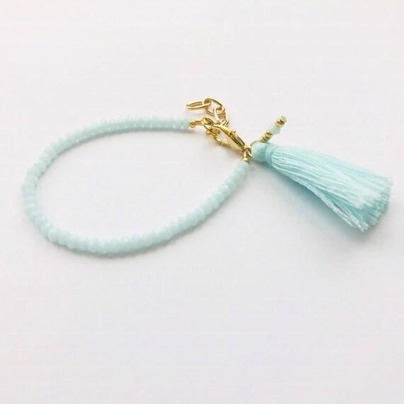 Baby Bracelet, Tassel Baby Bracelet, Baby Gifts, Little Girl Bracelet, Personalized Girl Gift, New Baby Gift, Minty bracelet