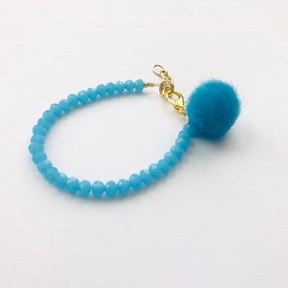 Baby Bracelet, Tassel Baby Bracelet, Baby Gifts, Little Girl Bracelet, Personalized Girl Gift, New Baby Gift, Blue bracelet, Pom Pom