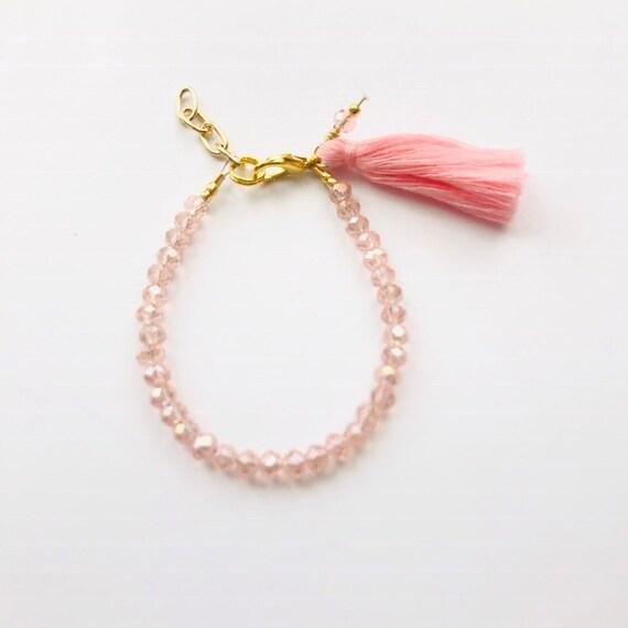 Baby Bracelet, Tassel Baby Bracelet, Baby Gifts, Little Girl Bracelet, Personalized Girl Gift, New Baby Gift, Coral bracelet