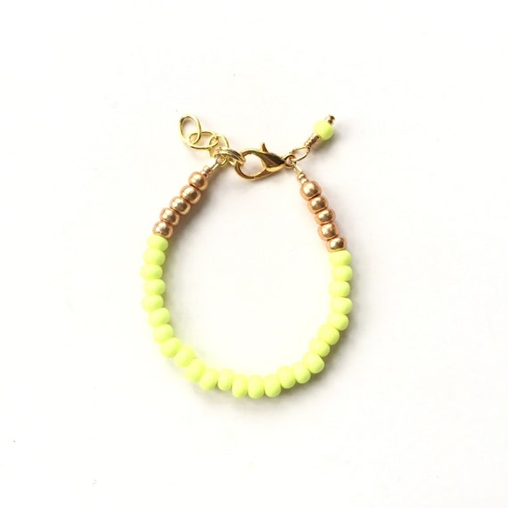 Neon Chartreuse single strand stacking Baby Bracelet, girl baby bracelet, newborn bracelet, mommy and me, toddler bracelet, mothers day gift