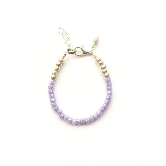 Lilac single strand stacking Baby Bracelet, girl baby bracelet, newborn bracelet, mommy and me, toddler bracelet, mothers day baby