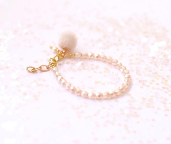Baby Bracelet, Tassel Baby Bracelet, Baby Gifts, Little Girl Bracelet, Personalized Girl Gift, New Baby Gift, Ivory bracelet, Pom Pom