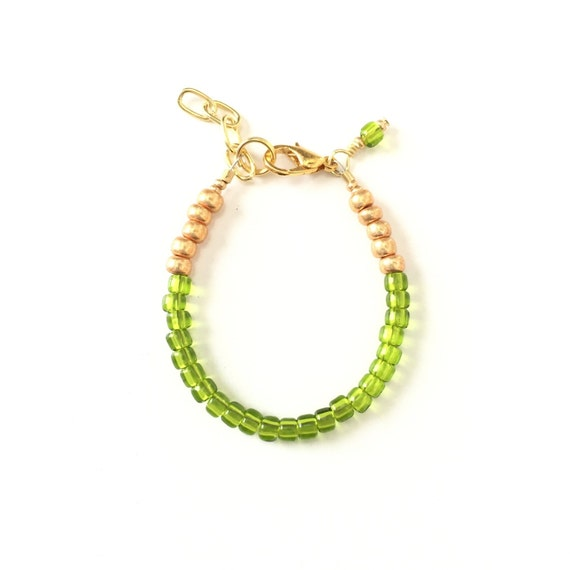 August Birthstone Peridot colored Baby Bracelet, Newborn Baby Shower Gift, Toddler Girl Jewelry, Gold or Silver Unique Gift