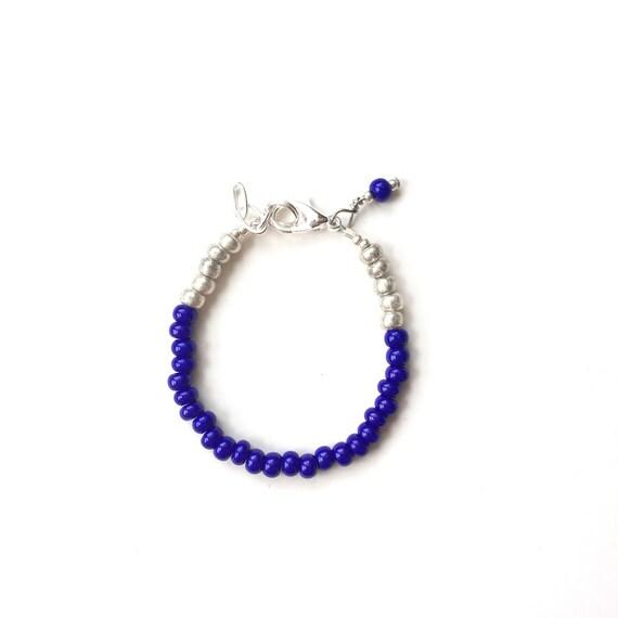 Cobalt single strand stacking Baby Bracelet, girl baby bracelet, newborn bracelet, mommy and me, toddler bracelet, mothers day, shower gift