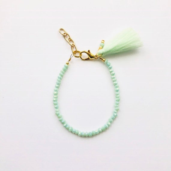 Baby Bracelet, Tassel Baby Bracelet, Baby Gifts, Little Girl Bracelet, Personalized Girl Gift, New Baby Gift, Mint bracelet