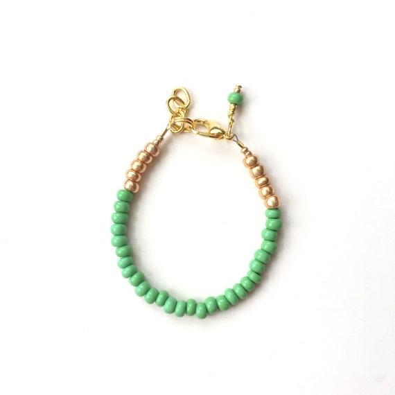 Green Apple single strand stacking Baby Bracelet, girl baby bracelet, newborn bracelet, mommy and me, toddler bracelet, mothers day gift