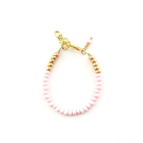 Pastel Pink single strand stacking Baby Bracelet, girl baby bracelet, newborn bracelet, mommy and me, toddler bracelet, baby shower gift
