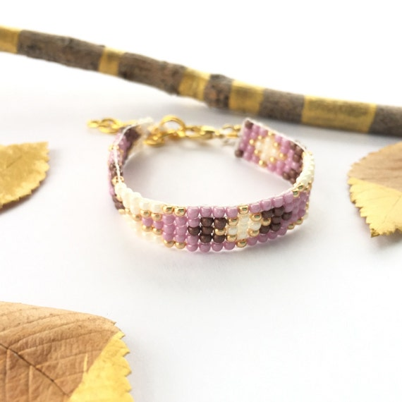 Unique Baby gift Newborn photo prop, beaded friendship bracelet, baby jewelry, personalized unique Mauve & Lavender 14k gold woven bracelet