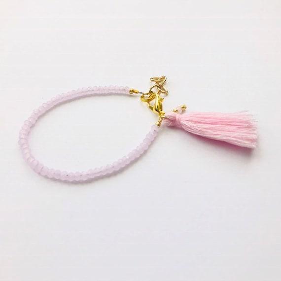 Baby Bracelet, Tassel Baby Bracelet, Baby Gifts, Little Girl Bracelet, Personalized Girl Gift, New Baby Gift, Pastel Pink bracelet