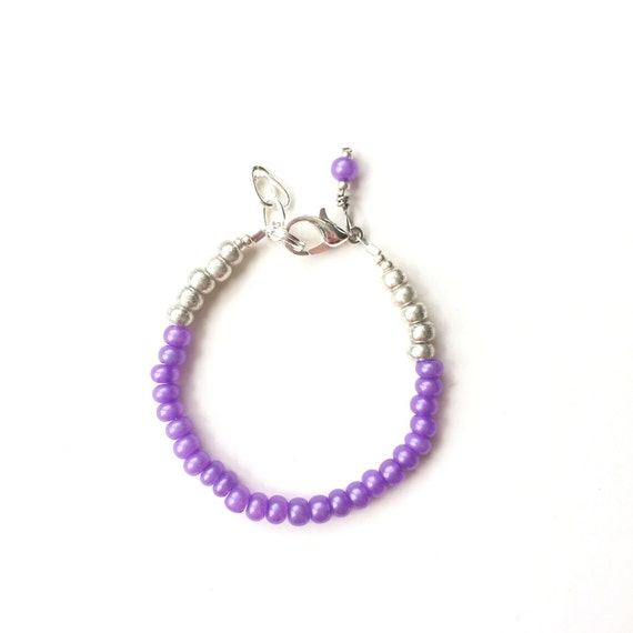 Grape Purple single strand stacking Baby Bracelet, girl baby bracelet, newborn bracelet, mommy and me, toddler bracelet, mothers day gift