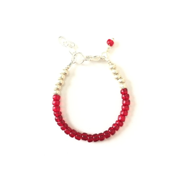 July Birthstone Ruby colored Baby Bracelet, Newborn Baby Shower Gift, Toddler Girl Jewelry, Gold or Silver Unique Gift