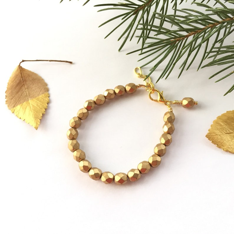 7a302716b3de3 Unique Baby Gift - Baby Girl Gift - Baby Shower Gift - Baby Bracelet -  Newborn Photo Prop - Girl take home outfit - Gold Faceted Bracelet