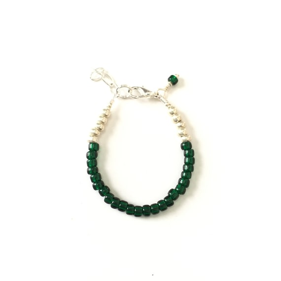 May Birthstone Emerald colored Baby Bracelet, Newborn Baby Shower Gift, Toddler Girl Jewelry, Gold or Silver Unique Gift