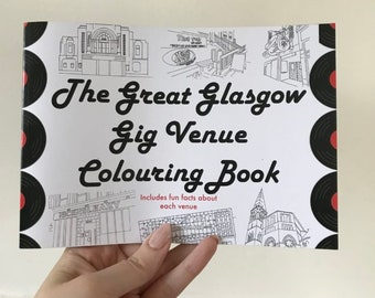 Glasgow Gig Venues - A5 Colouring  Book - Music Fan Gift - Scottish Gifts - Records Collectors -  Scottish Coloring Book - Glasgow Music