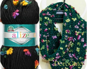 Super Bulky Soft yarn, Alize Maxi Flower, Bulky yarn, Novelty yarn, Fancy yarn, art yarn, Wool blend, Acrylic yarn, ALP