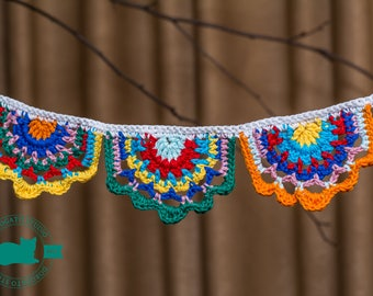 Crochet garland, crochet banner, Gypsy Crochet Banner, crochet bunting, nursery decor, party decoration, Baby Shower, hygge bunting