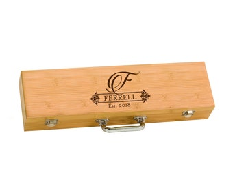 Personalized BBQ Grill Set With Wooden Storage Case | BBQ Set | Grilling  Tools | Barbecue Set | Housewarming Gift | Custom Grill Ware | BBQ