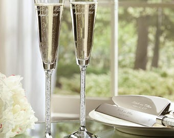 unique champagne flutes. Oleg Cassini Crystal Diamond Toasting Flutes | Wedding Champagne Glasses Free Personalization Unique T