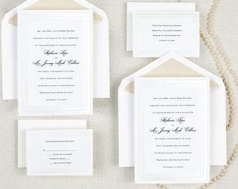 Wedding invitation set etsy pearl pleasure wedding invitation suite classic wedding invitation set thermography wedding invitation traditional embossed invite filmwisefo