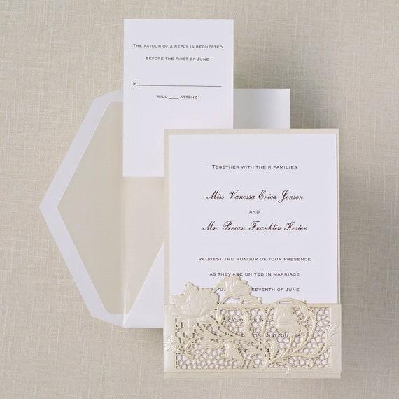 Provincial Lace Wedding Invitation Suite