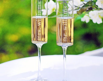 mr. and mrs. Champagne Flutes | Contemporary Flutes | Toasting Flutes | Toasting Glasses | Champagne Glasses | Personalized Flutes | Barware