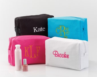 Spa Bag | Waffle Cosmetic Bag | Personalized Gifts for Women | Waffle Makeup Bag | Gifts for Her | Bridesmaid Gifts | FREE Personalization