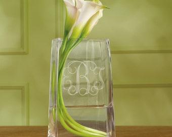 Monogrammed Vase | Custom Flower Vase | Personalized Centerpiece | Bridesmaid Gift | Engraved Glass Vase | Home Decor | Free Personalization