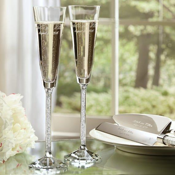 Oleg Cassini Crystal Diamond Toasting Flutes 2 Wedding Etsy