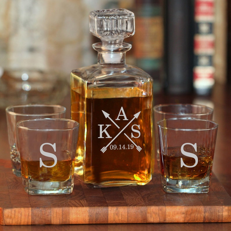 e7e05a88a6e Engraved Whiskey Decanter w/ Optional Glasses | Decanter Set | Home Bar  Gift | Liquor Decanter & Whiskey Glasses | Monogrammed Wedding Gift
