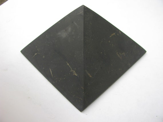 Shungite Unpolished Pyramid 100 mm Healing Protection Schungite Karelia Russia